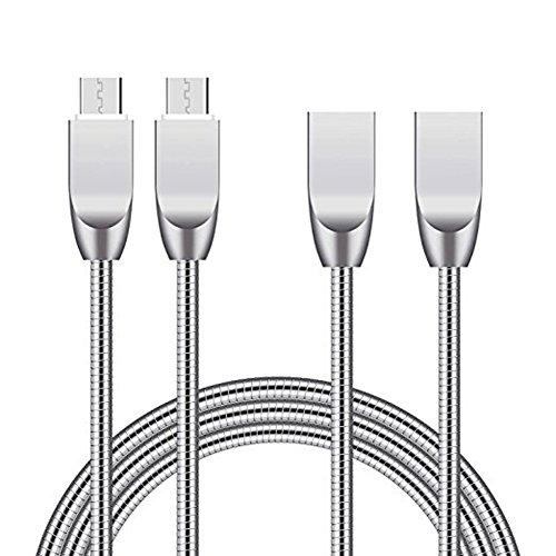 Myfei 2,4A Métal chargeur USB, câble micro USB en métal, 1m en alliage de zinc chargement rapide et câble de transfert de données pour iPhone, Android