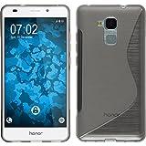 PhoneNatic Case für Huawei Honor 5C Hülle Silikon grau S-Style + 2 Schutzfolien