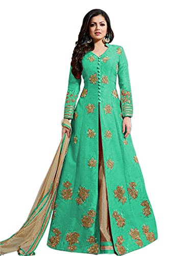Aryan Fashion Women Banglory Silk Anarkali Semi-Stitched Salwar Suit (AFS-AAB10770_Green_Free Size)