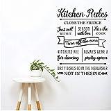 Mhdxmp Neue Küche Regeln Wandaufkleber Buchstaben Vinyl Wandtattoos Abnehmbare Küche Für Tanzen Zitate Für Wohnzimmer Home Decor56 * 73Cm