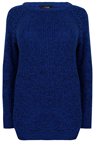 Yours Plus Size Womens Chunky Knit Jumper With Laced Sleeves, Plus Size 16 To 36