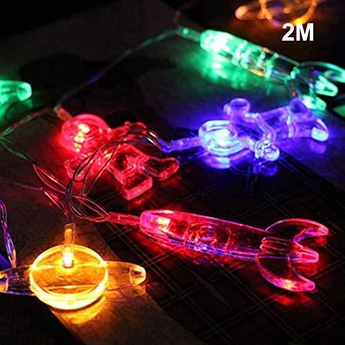 UIYU LED-Lichterkette mit kreativem Weltraum-Motiv, für Zuhause, Urlaub, Party, Festival, Dekoration - batteriebetrieben, Colorful Light, 2M 20LED (Lichterketten Planeten)