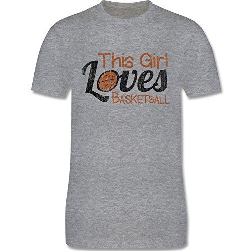 Basketball - This Girl loves Basketball - Vintage look - L190 Herren Premium Rundhals T-Shirt Grau Meliert