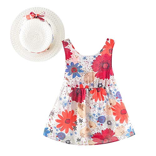 JUTOO 2 Set Neugeborenes Baby Kinder Mädchen Blumendruck Bowknot Princess Dress + Hut Lässige Kleidung Set (rot,S)