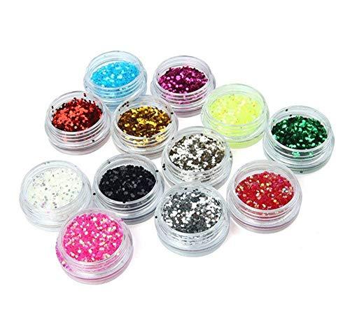 Ungfu Mall 12 colori Glitter polvere di stelle per Nail Art su unghie con lustrini esagonale powder1mm Set brillantini 3D per nail Art Polveri