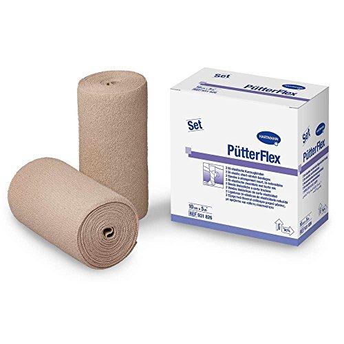 Pütter flex Duo 10 cm x 5 m, Doppelpackung, 2 Binden, elastische Fixierbinde (Putter Klassischer)