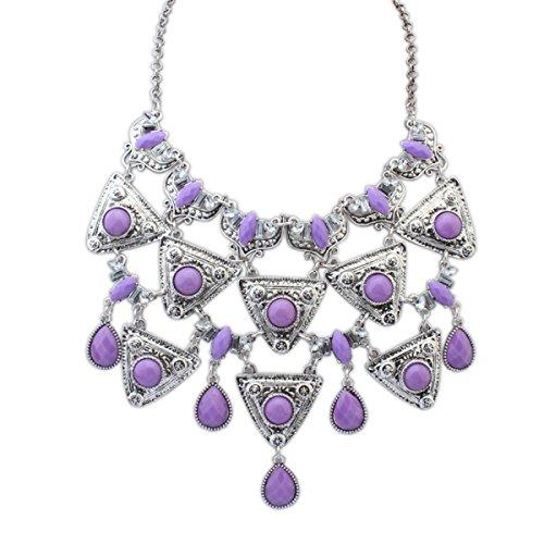 ZPXLGW Gouttes D'eau Exagérées De Mode Collier Multi-couches Pendentif Géométrique Triangulaire Purple+AncientSilver