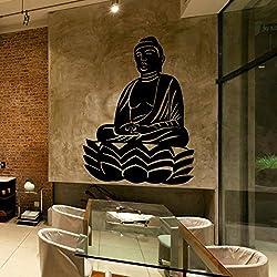 Vinilo Decorativo Buda Lotus .(80x60cm aprox.) color negro,