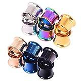 D & min Jewelry set di 12/6-colori vite tappo estensore in acciaio inox Hollow Plugs orecchio Expander Ear Piercing gioielli Unisex 3 mm-25 mm, Acciaio inossidabile, cod. NW-K000389