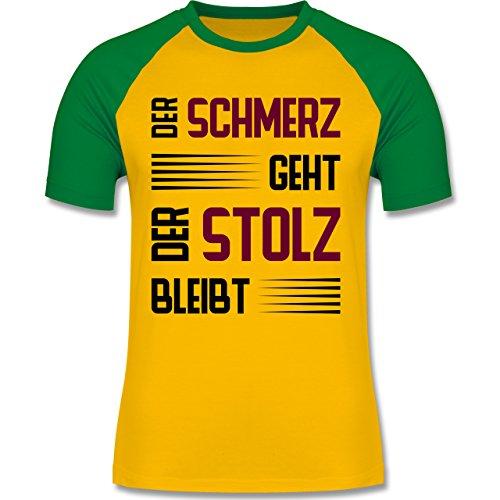 Laufsport - Der Schmerz geht doch der Stolz bleibt - zweifarbiges Baseballshirt für Männer Gelb/Grün