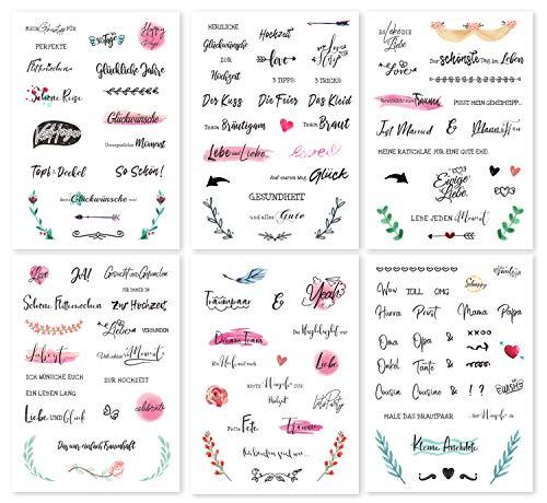 CeenoSign Gästebuch Hochzeits Sticker,schöne sprüche Aufkleber -Watercolors Design 136 Stick