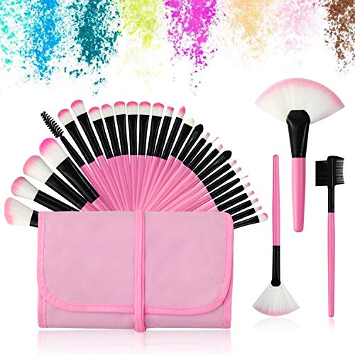 32Pcs Make up Pinsel Set pink, Kosmetikpinsel eyeshadow Lippen Foundation Gesicht pinsel Augen pinsel Lidschatten Brush with pink Nylon tasche (32er in pink) - Schminken Pinsel Für