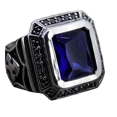 SonMo Ringe 925 Sterling Silber Saphir Kreuz Muster Blauer Rechteck Stein Siegelring Herren Silber Ringe Silber Gothic Silber Große:60 (19.1)