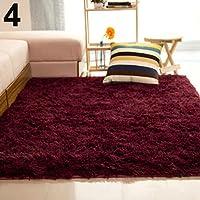 KMjungu Bedroom Home AntiSkid Soft Shaggy Fluffy Floor Mat Living Room Kitchen Carpet Washable Area Rugs Mat For Laminate And Wooden Floors Underlay Claret
