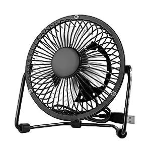 USB Mini Desk Fan Quiet Desktop Fan Electric Fans 4 inch 360° Rotation Portable Cooling Fan USB Powered PC Laptop Office Fan (Black)