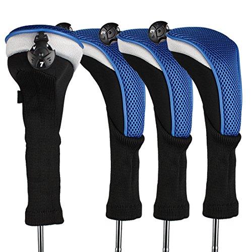 Andux 4/Pack Langer Hals Golf Hybrid Club Head Covers mit austauschbaren Keine. Tag ctmt-02, blau