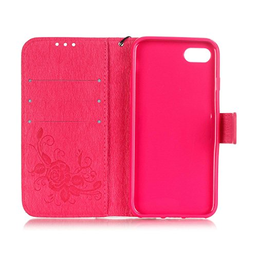 iPhone Case Cover Dual Side Embossed Blumen Schmetterling Fall Deckung Wallet Stand Case mit Handschlaufe für iPhone 7 ( Color : Black , Size : IPhone 7 ) Red