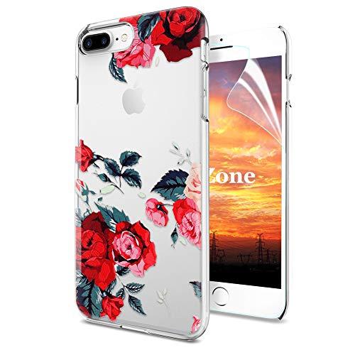 OKZone iPhone 8 Plus/iPhone 7 Plus Hülle [mit HD-Schutzfolie], [Blumen Series] Transparent Silikon Muster Hülle TPU Blühende Blumen Design Schutzhülle für Apple iPhone 8 Plus/iPhone 7 Plus (Rot) -