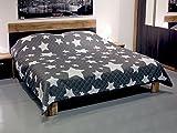 Fashion&Joy XL Bettüberwurf Sterne Tagesdecke gesteppt 220x240 Steppdecke anthrazit weiß Überwurf ÖKOTEX Decke Maritim Chic Typ456