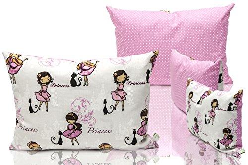 Preisvergleich Produktbild La Petite Unique 35 x 25 cm Kinderkopfkissen MIT FÜLLUNG waschbares Babykissen 100 % Ökotex zertifiziert Motiv: Prinzessin Rosa