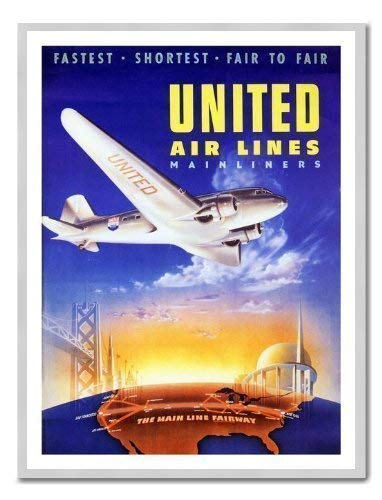 United Airlines 1939 Travel Poster Print Silber gerahmt - 41 x 31 cms (ca. 40,6 x 30,5 cm) - Airlines Poster United