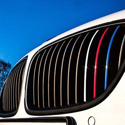 Wandkings - Adhesivos para parrilla delantera de coche con colores reflectantes (azul oscuro, rojo, blanco-plateado y azul claro)