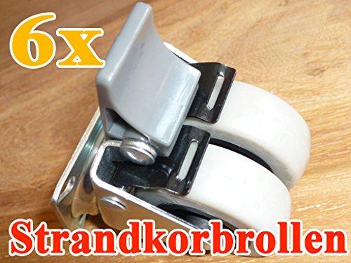 6x Strandkorbrollen bis 100kg/ pro Doppelrolle jeweils mit Bremse Rasen geeignet von XINRO®
