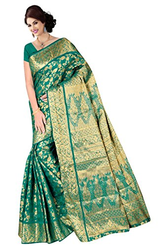 Boutique On Palm Bollywood Style New Generation Concept Party Wear Saree Banarasi Silk Sarees (Rama Jacquard Vadi Velo)