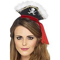 Cappellino nero da pirata con piume nastro rosso accessorio carnevale 510ecba9369d