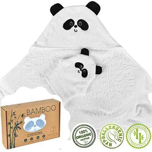 Baby Badehandtuch mit Kapuze 100% Bio-Bambus Kapuzenhandtuch Babybademantel Extra Soft Hypoallergen Großformat Perfektes Geschenk Für Neugeborene Kleinkinder Junge und Mädchen von 0-4 Jahren