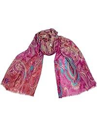 1d24d76e1d450a Schal HANNA Pink Blau Wolle Seide florales Muster allover print Paisley