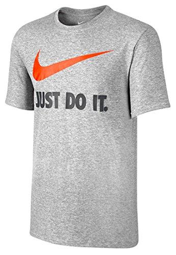 NIKE Herren Kurzarm Shirt Just Do It Swoosh Dark Grey Heather/Team Orange
