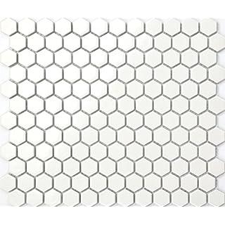 27cm x 31cm White Hexagonal Gloss Ceramic Mosaic Tiles Sheet (MT0089)