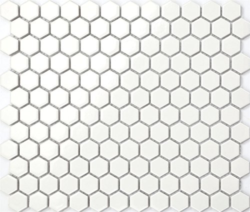 27cm x 31cm White Hexagonal Gloss Ceramic Mosaic Tiles Sheet (MT0089)