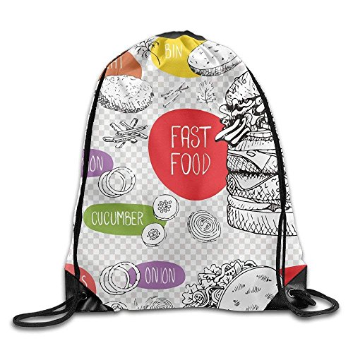 Louis Vuitton Duffle Bag (Funny Fast Food Gym Drawstring Backpack Unisex Portable Sack Bag)