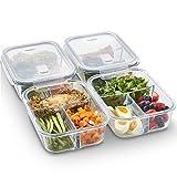 VonShef 4-er Set Glas-Frischhaltedosen mit Deckel – 3 Kammern – Lebensmittelbehälter aus Glas