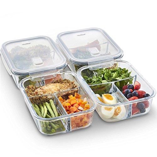 VonShef Juego de 4 Contenedores de Alimentos de Vidrio con Tapas – 3 Compartimientos – Almacenamiento de Cocina de Vidrio, Contenedores para Preparar Comidas