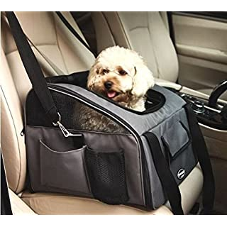 Pettom Pet Car Seat Carrier Airline Approved Dog Cat Lookout Booster Seat for Pets up to 20 lbs (Large, Grey)