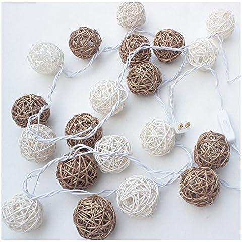 Cecil ecommerce ratán Ball LED luces String Lights colgante decoración árbol de Navidad para puerta Hofmeister Home–118