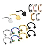 PiercingJ 16-19pcs 20 Gauge 16G Nose Studs Nose Rings Hoop Nose Bone Stud Ring L Shape Body Piercing Jewelry Helix Tragus Cartilage Septum Horseshoe Ring Surgical Steel Cubic Zirconia