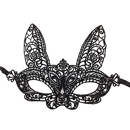 Amosfun Masken Maskerade Spitze Hase Ohren Augenmaske Bunny Masken Maskerade Party Cosplay Kostüme 4 Stück ()