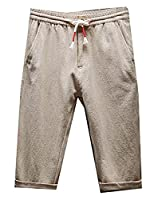 Fulok Mens Thin Linen Slim Elastic Waist Cuffed Knee Length Pants Medium khaki
