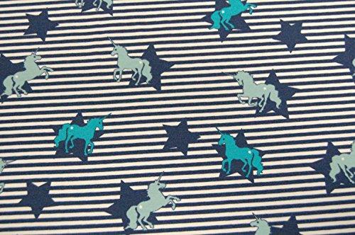 Coton-Jersey-rayures-toiles-licornes-Menthe-MarineBlanc
