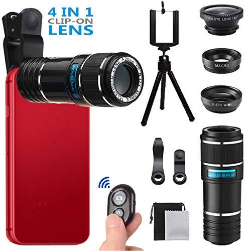 Handy Objektiv ,MSDADA 4 in 1 Objektiv Set ,12X Teleobjektiv+180°Fisheye Objektiv+ 0.67x Weitwinkel+ Makroobjektiv mit Mini-Stativ,für Iphone 6/6PLUS/7/8, Samsung, und Meisten Single-Lens Smartphone