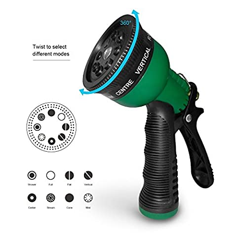 Becko Garden Hose Nozzle / Pistol Grip Hand Lawn Watering Sprayer with 8 Adjustable Patterns for Watering Plants / Garden or Car Wash / Showering Pets