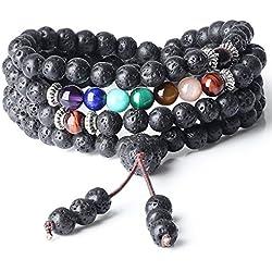 COAI Collier Mala Bracelet 7 Chakras 108 Perles Bouddhistes Pierre de Lave Unisexe