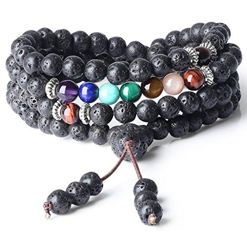 Coai bracciale collana 108 perle mala in pietra lavica e perle dei 7 chakra, bracciale rosario buddhista da preghiera