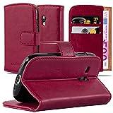 Cadorabo Hülle für Samsung Galaxy S3 Mini - Hülle in Wein ROT – Handyhülle im Luxury Design mit Kartenfach und Standfunktion - Case Cover Schutzhülle Etui Tasche Book