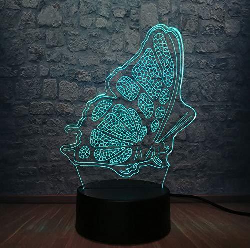 El Mundo 3D Led Night Light Dormitorio De Mariposa Escritorio Mesa Lámpara De Dormir Rgb 7 Cambio De Color Para Niños Regalo De Navidad Para Niña Juguetes Para La Decoración Del Hogar (En Halloween Mundo El)