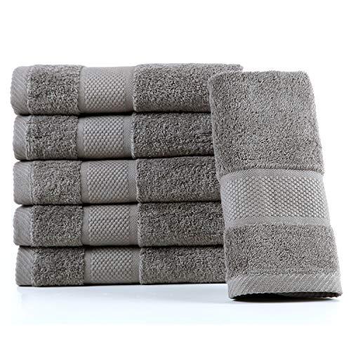 Hotel Waschlappen (SUMC Baumwolle Handtuch Set 600GSM Waschlappen Handtücher von 6 Stück Waschhandschuh aus Baumwolle stark saugfähigen Maschine waschbar für Haus & Hotel, Grau)